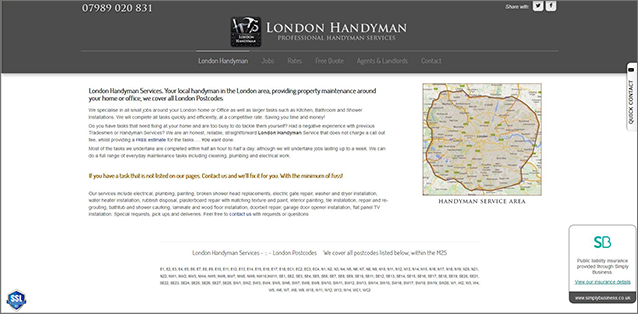 London Handyman Services website